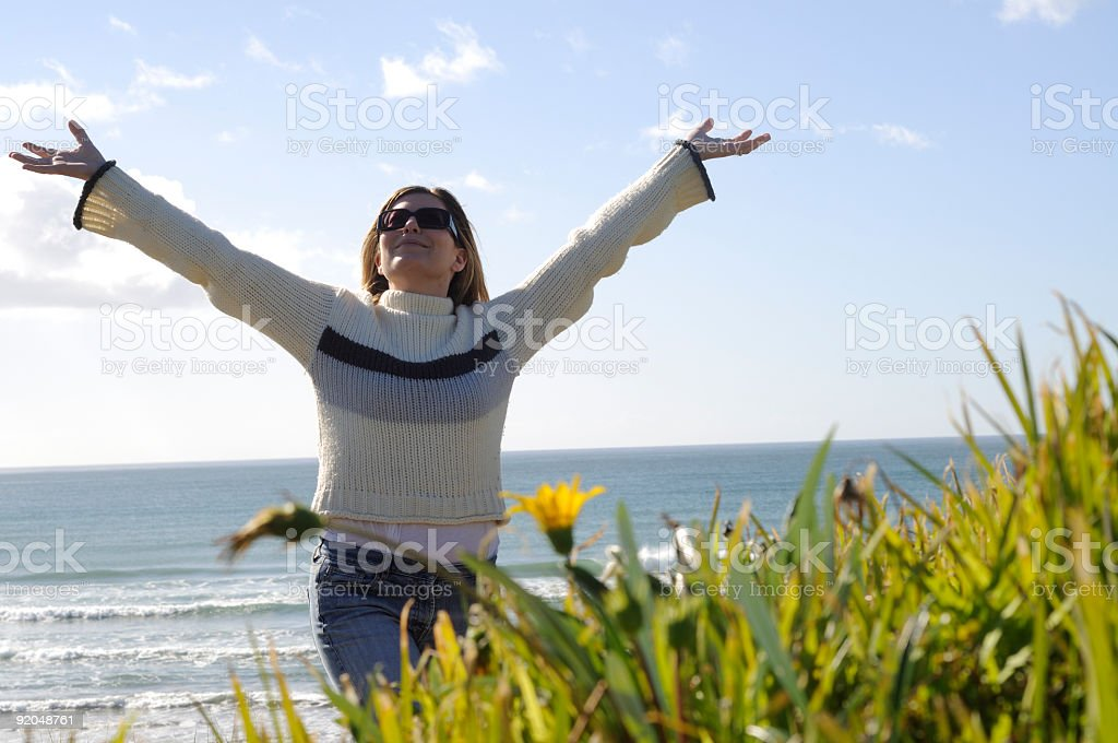 women on beach royalty-free stock photo