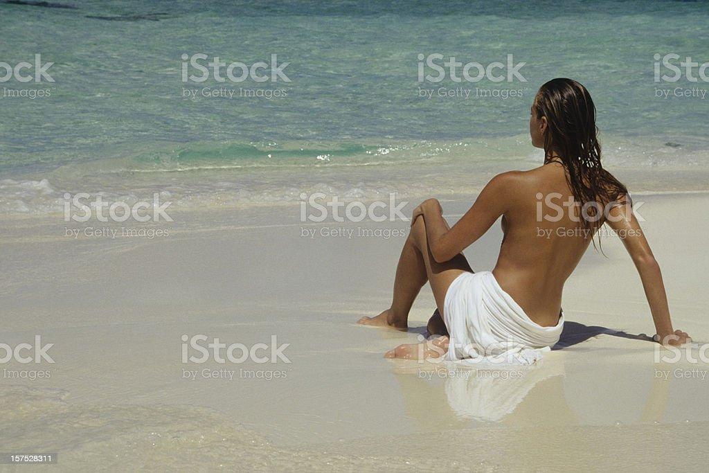 women on the beach royalty-free stock photo