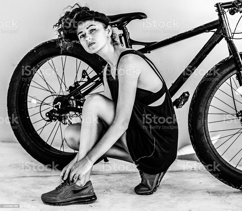 Women  on the bike stock photo