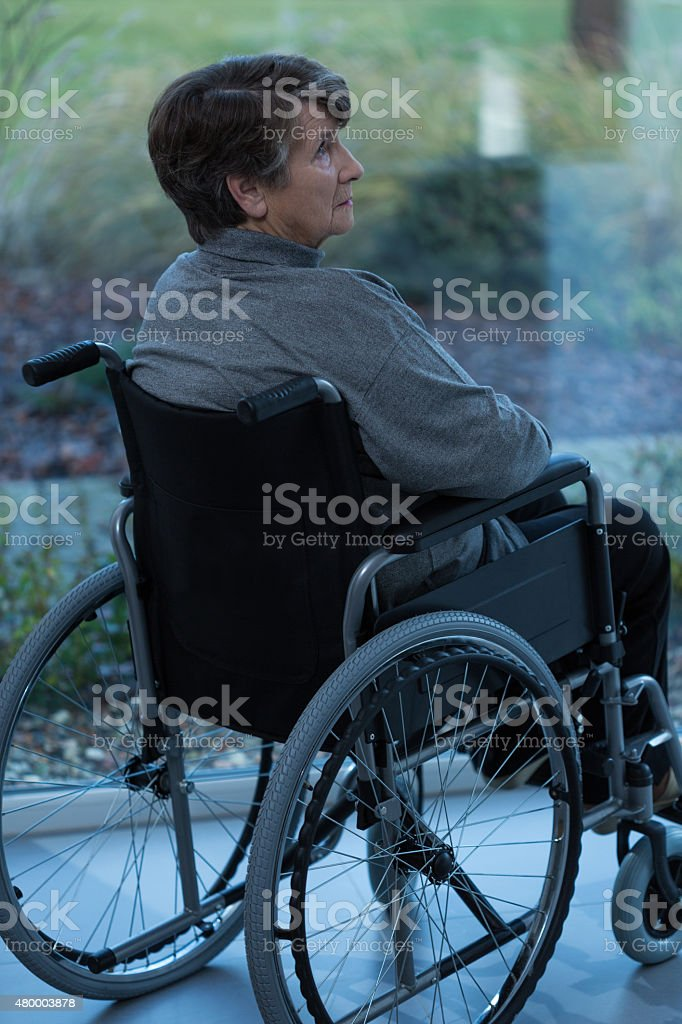Women on wheelchair stock photo