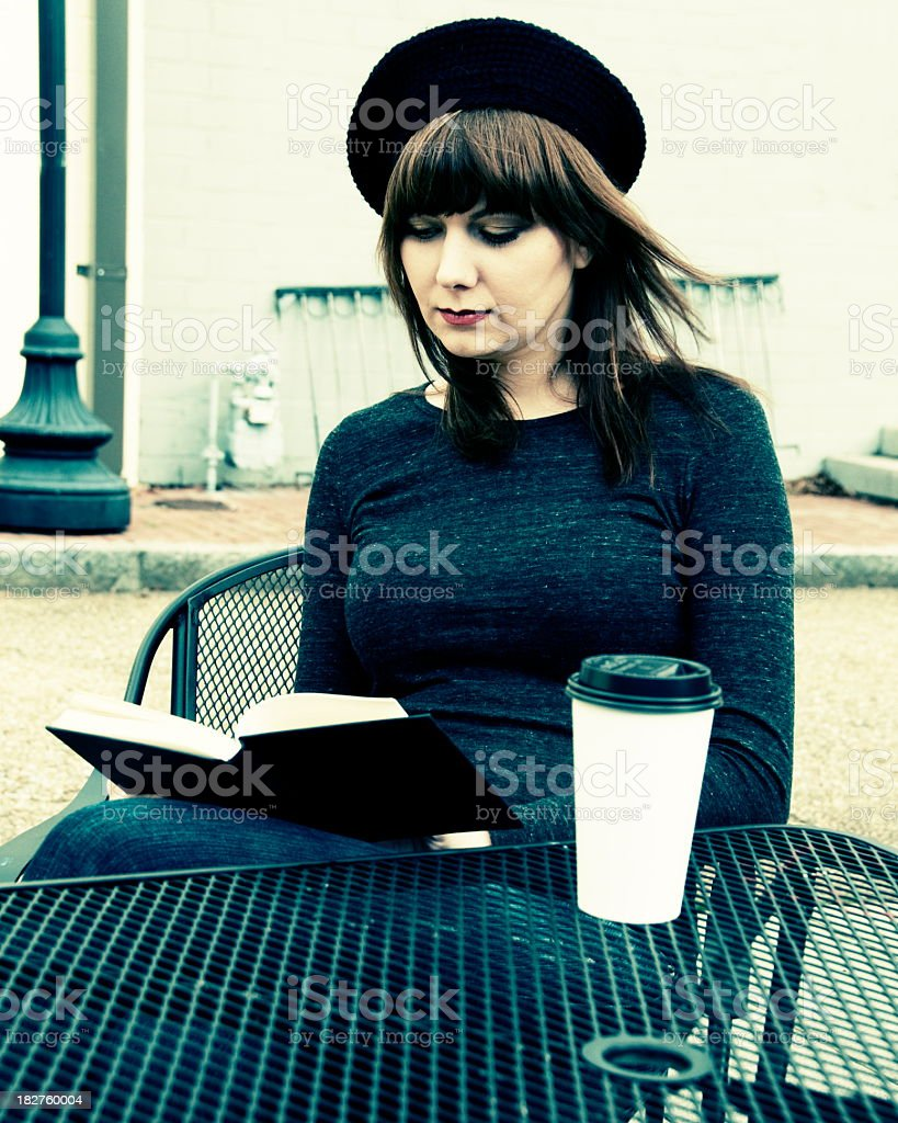Women outside drinking coffee royalty-free stock photo