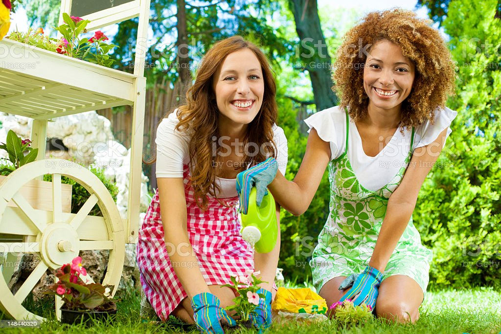 Women Planting and Watering a flower. royalty-free stock photo