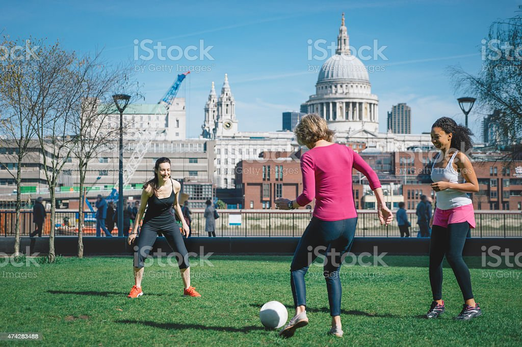 Women Playing Soccer stock photo