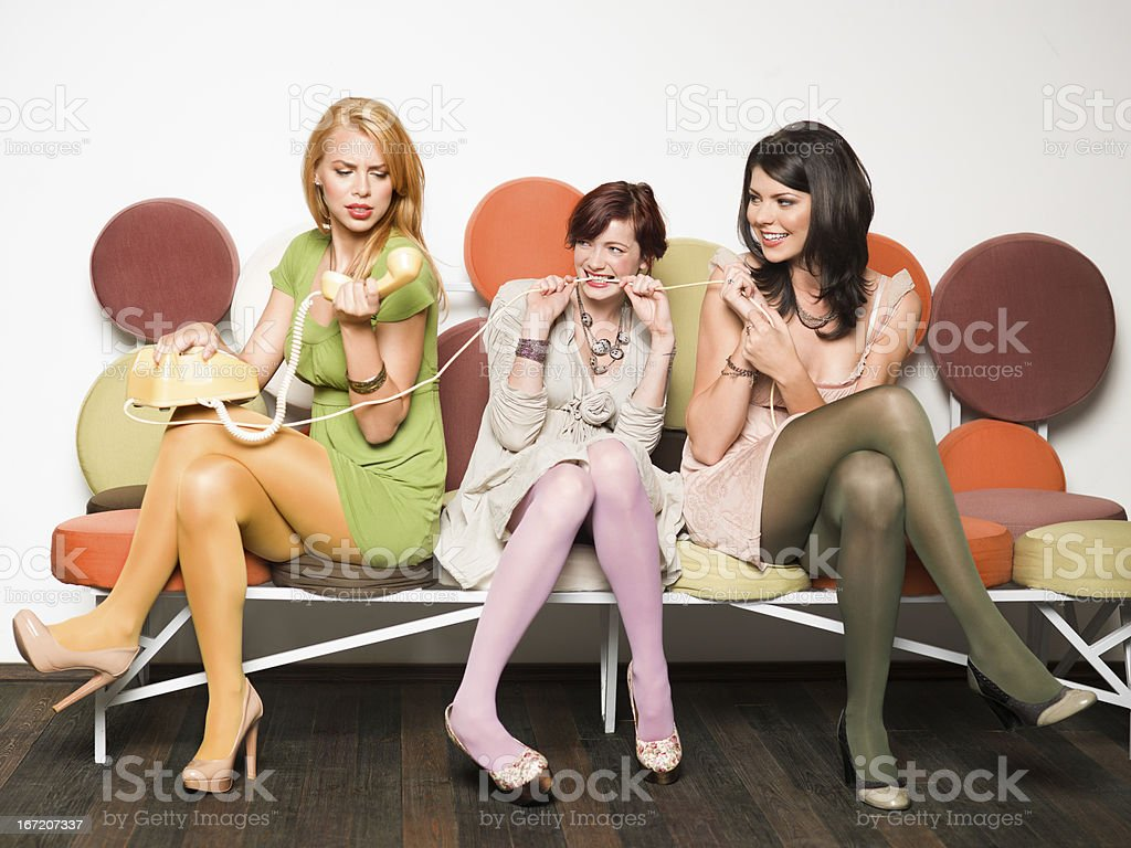 women playing with telephone royalty-free stock photo