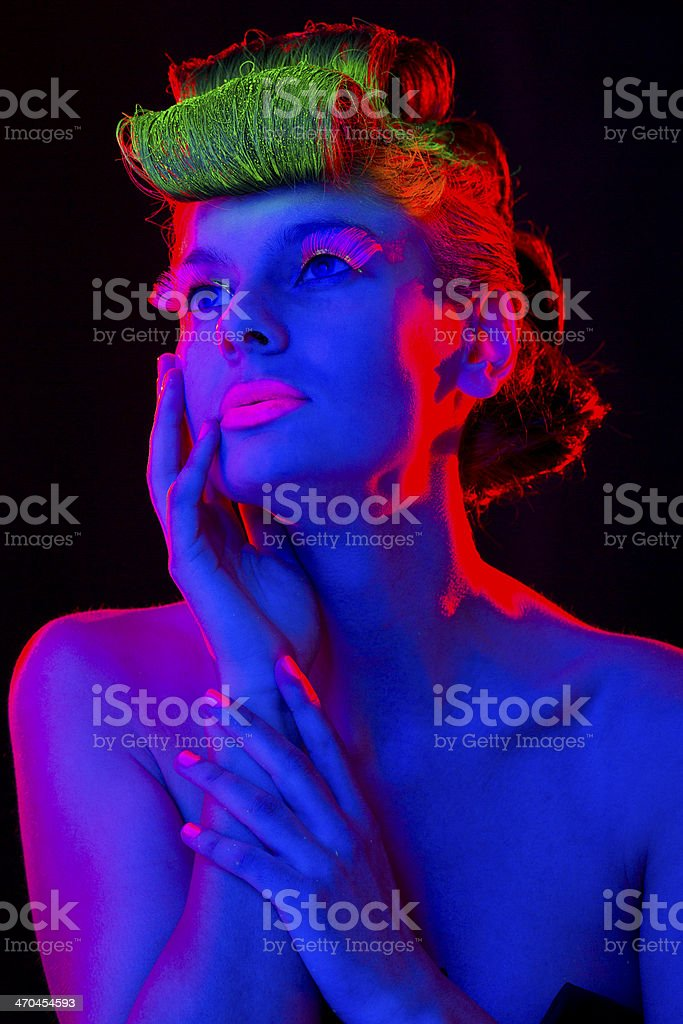 Women Portrait in Neon Lights royalty-free stock photo