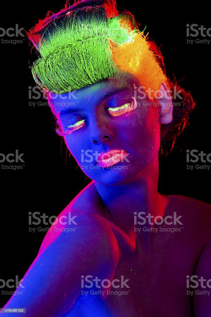 Women Portrait in Neon Lights royalty-free stock photo