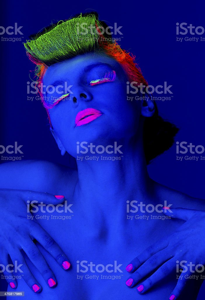 Women Portrait with Pink Fingernails in Neon Light royalty-free stock photo
