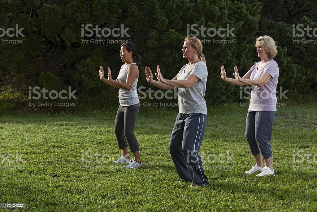 Women practicing tai chi stock photo
