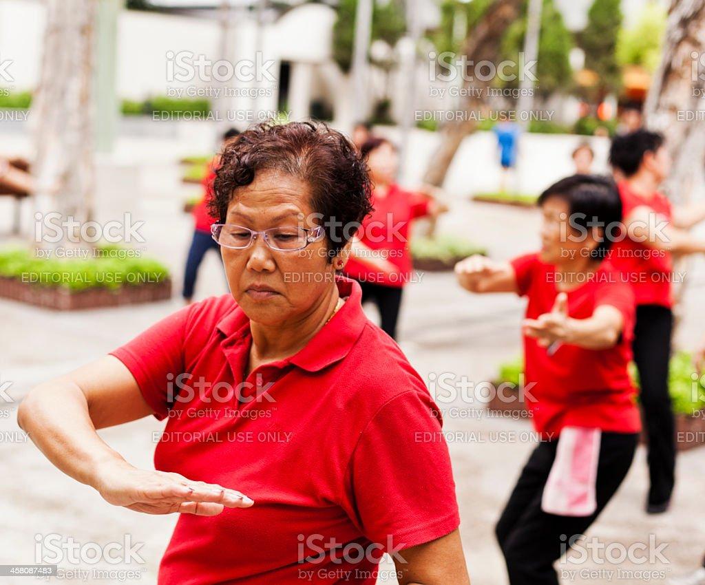 Women practising Tai Chi royalty-free stock photo