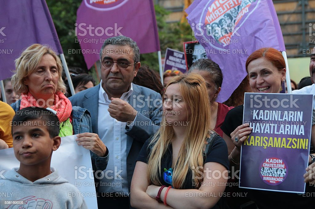 Women protested against Erdogan. stock photo
