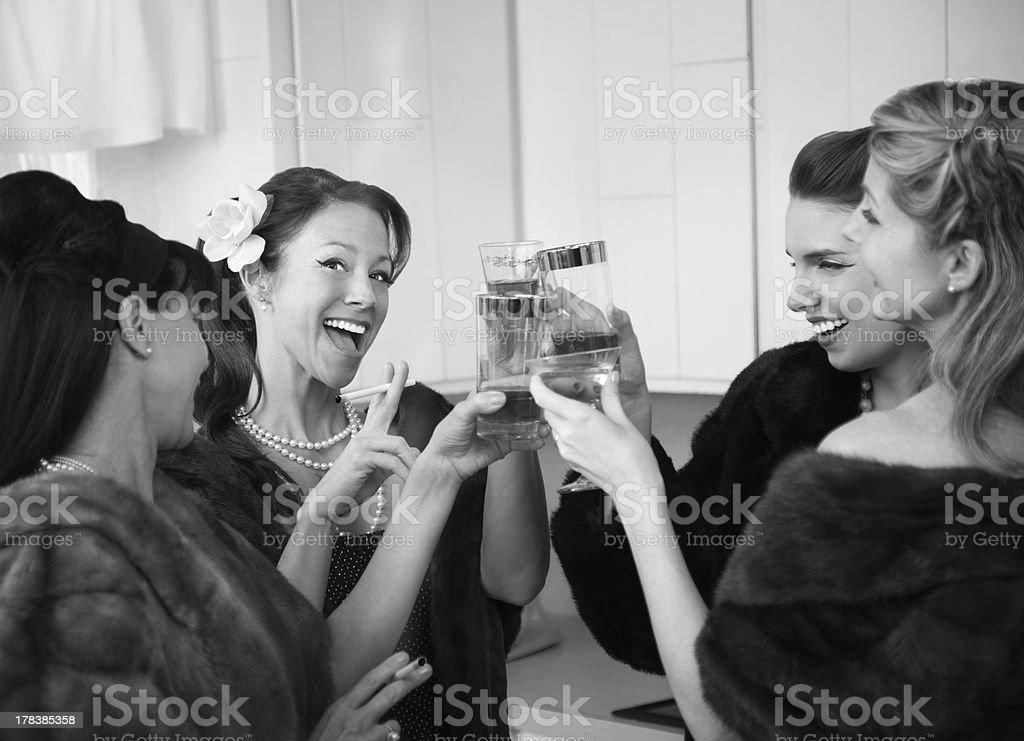 Women Raising A Toast stock photo