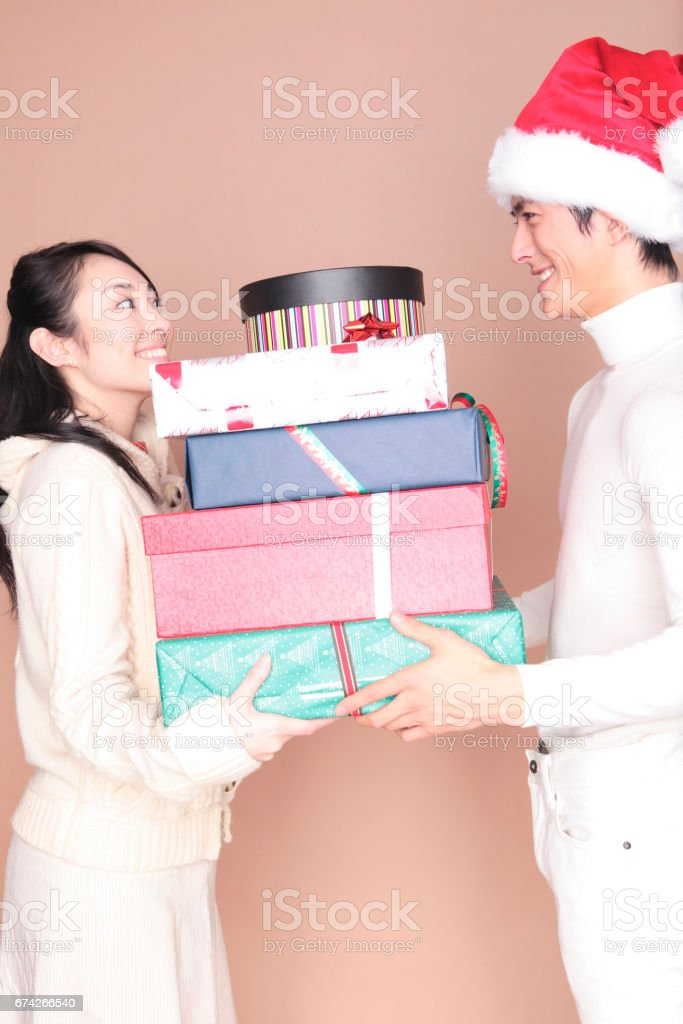 Women receive a lot of presents stock photo