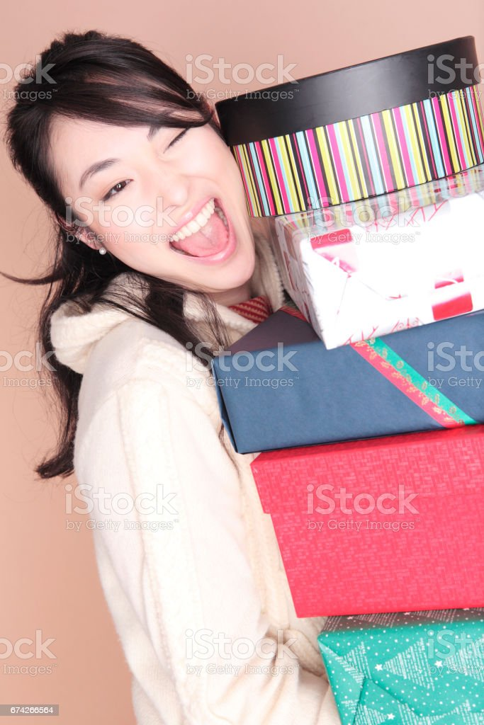 Women received a lot of presents stock photo