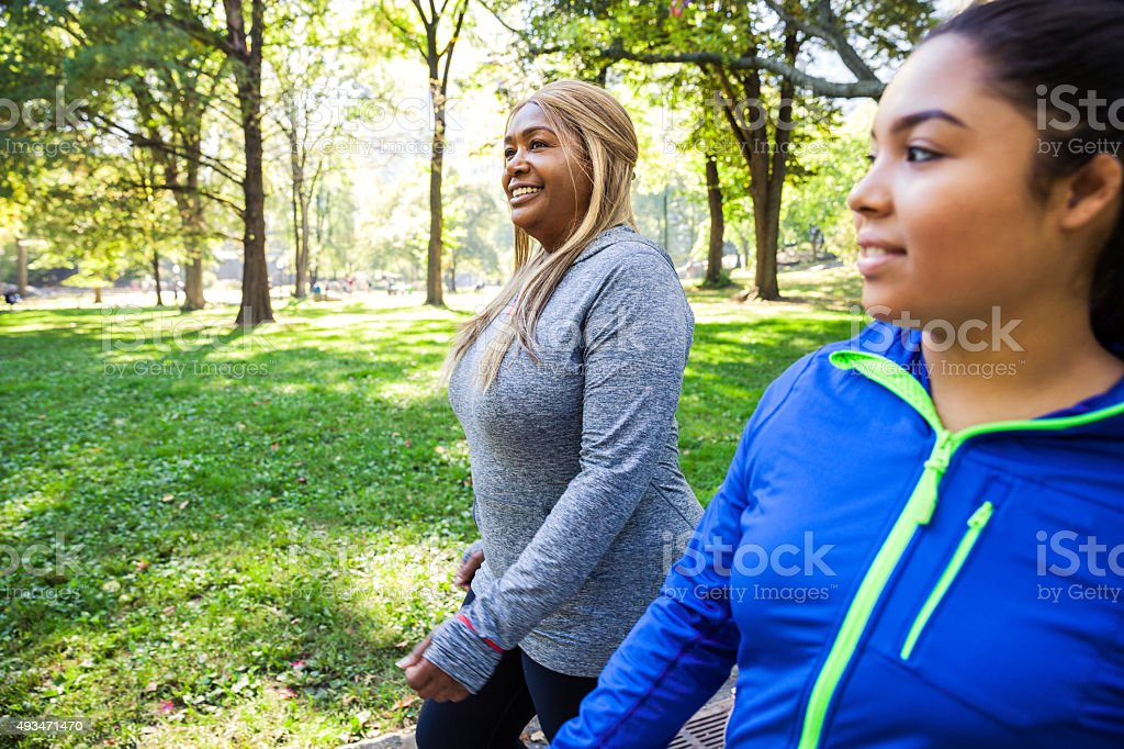 Women relaxing post workout in Central Park New York stock photo