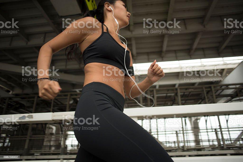 Women run the outside. stock photo