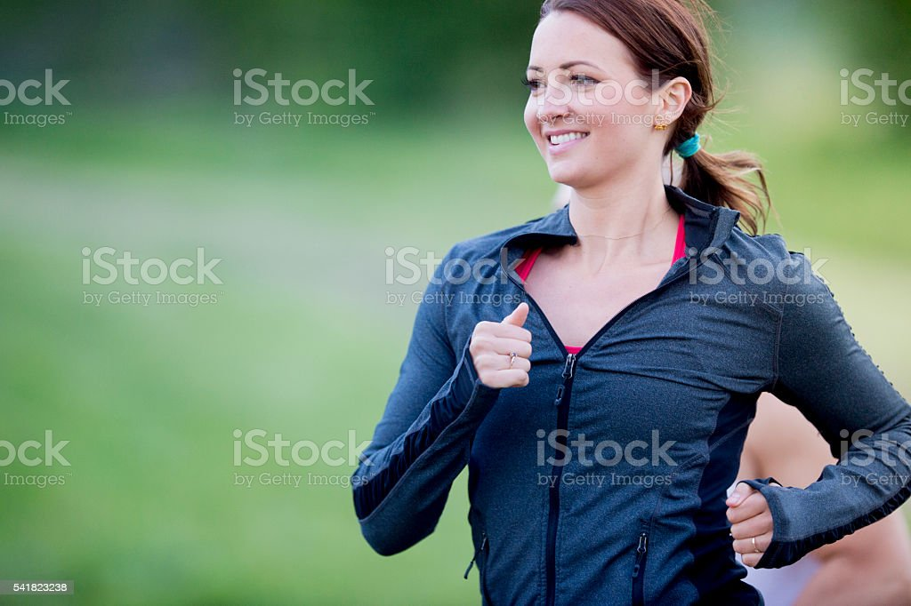 Women Running at the Park stock photo
