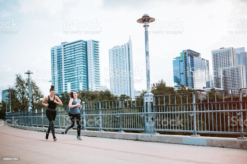 Women Running in Downtown Austin stock photo