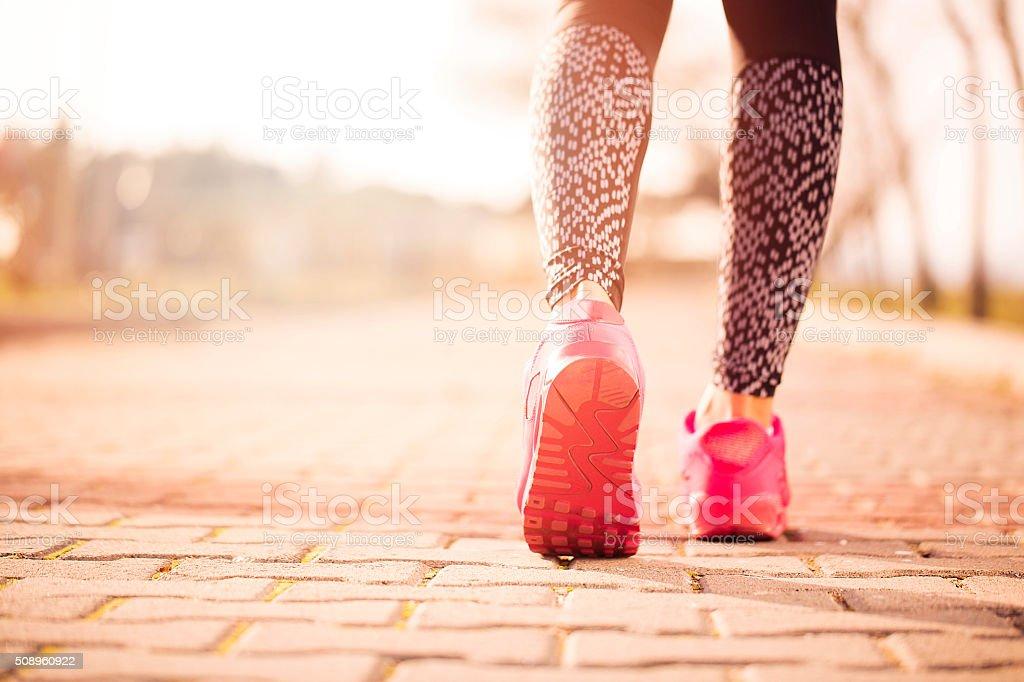 Women running in early morning stock photo