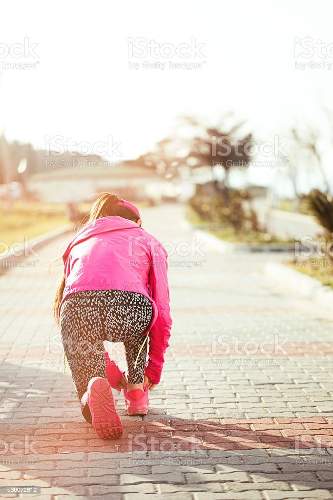 Women running in early morning stock photo