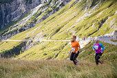 Women running on hill
