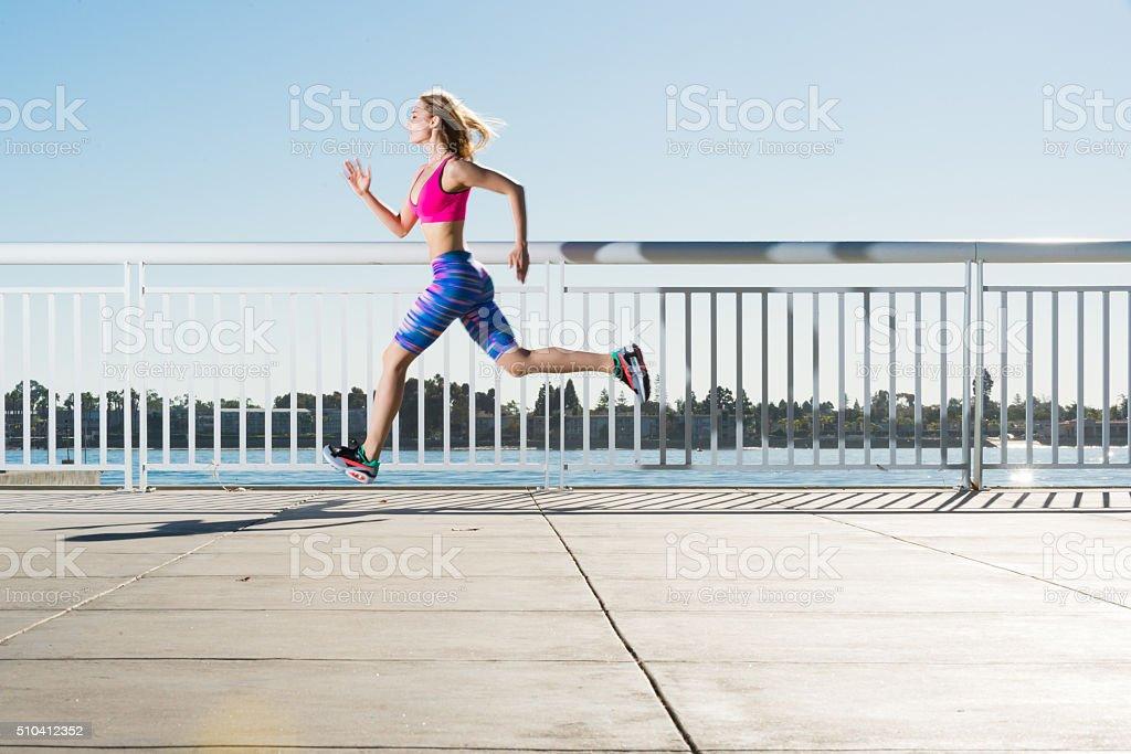 Women Running The San Diego Bay stock photo
