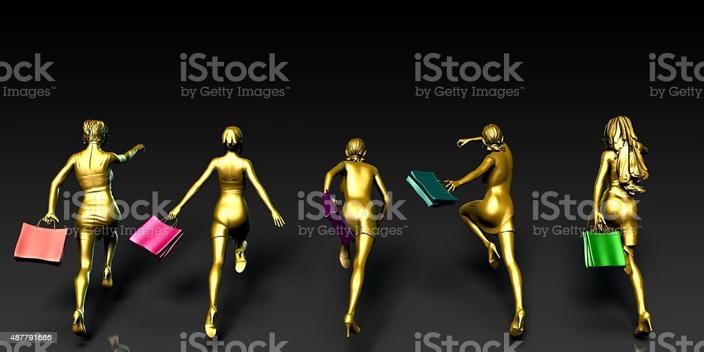 Women Running to a Sale stock photo