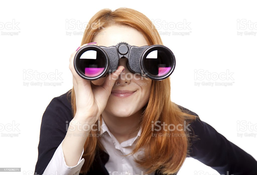 women seeking with binocular stock photo