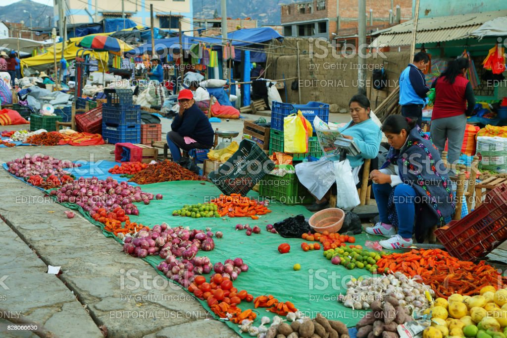 Women selling fruits and vegetables in Yungay, Peru stock photo