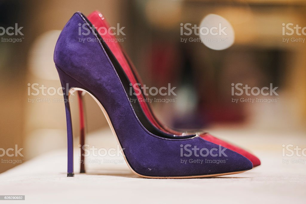 Women shoes in a luxury store stock photo