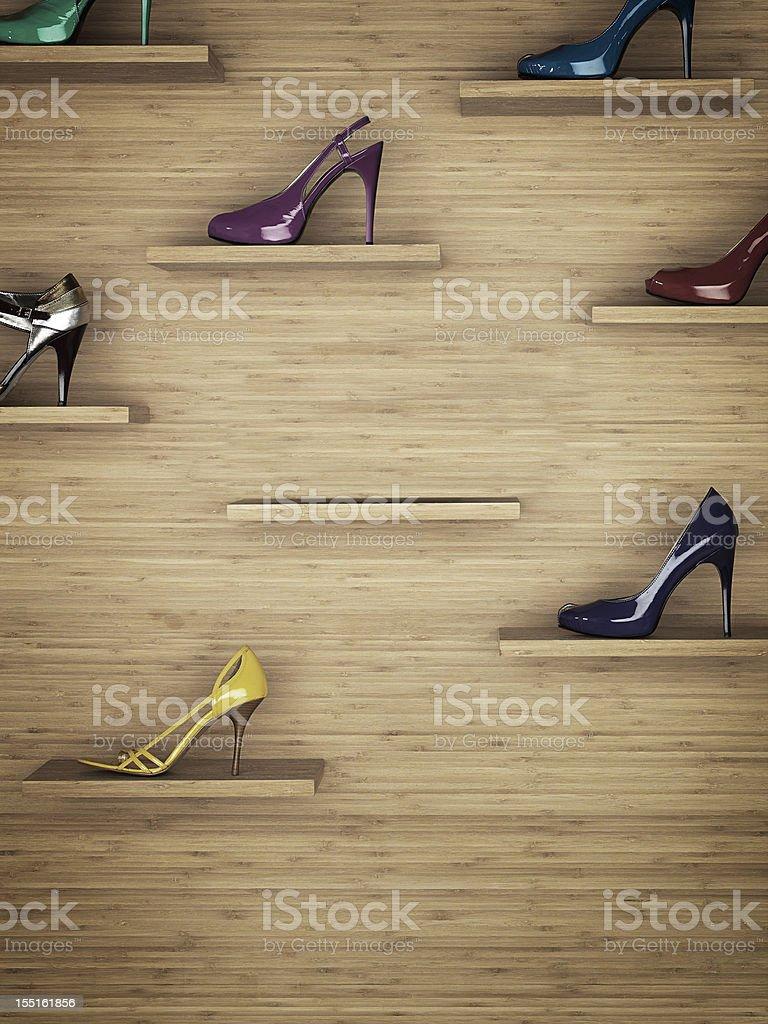 Women shoes rack stock photo