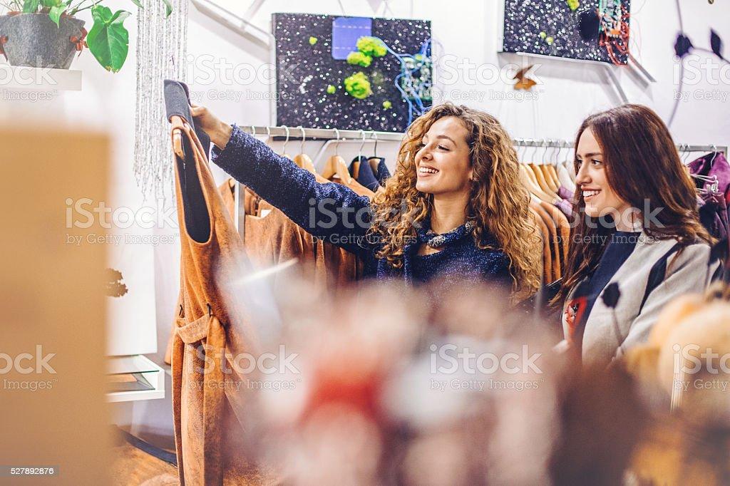 Women shopping clothes stock photo