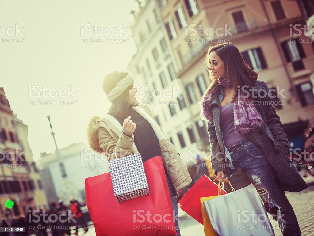 Women shopping during christmas sales in Rome, Italy stock photo