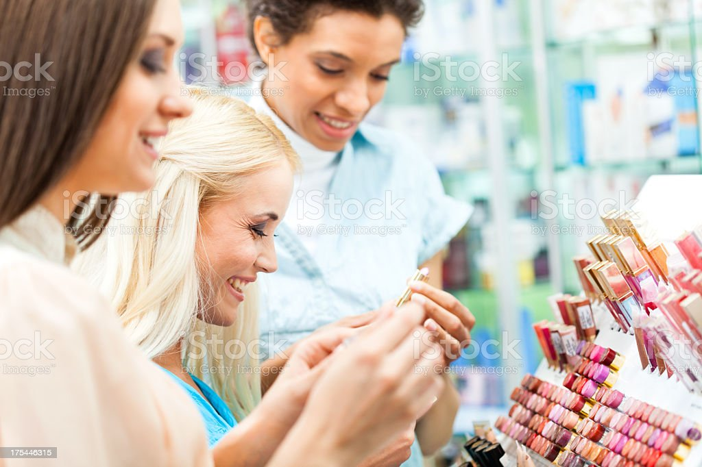 Women shopping for make-up products royalty-free stock photo
