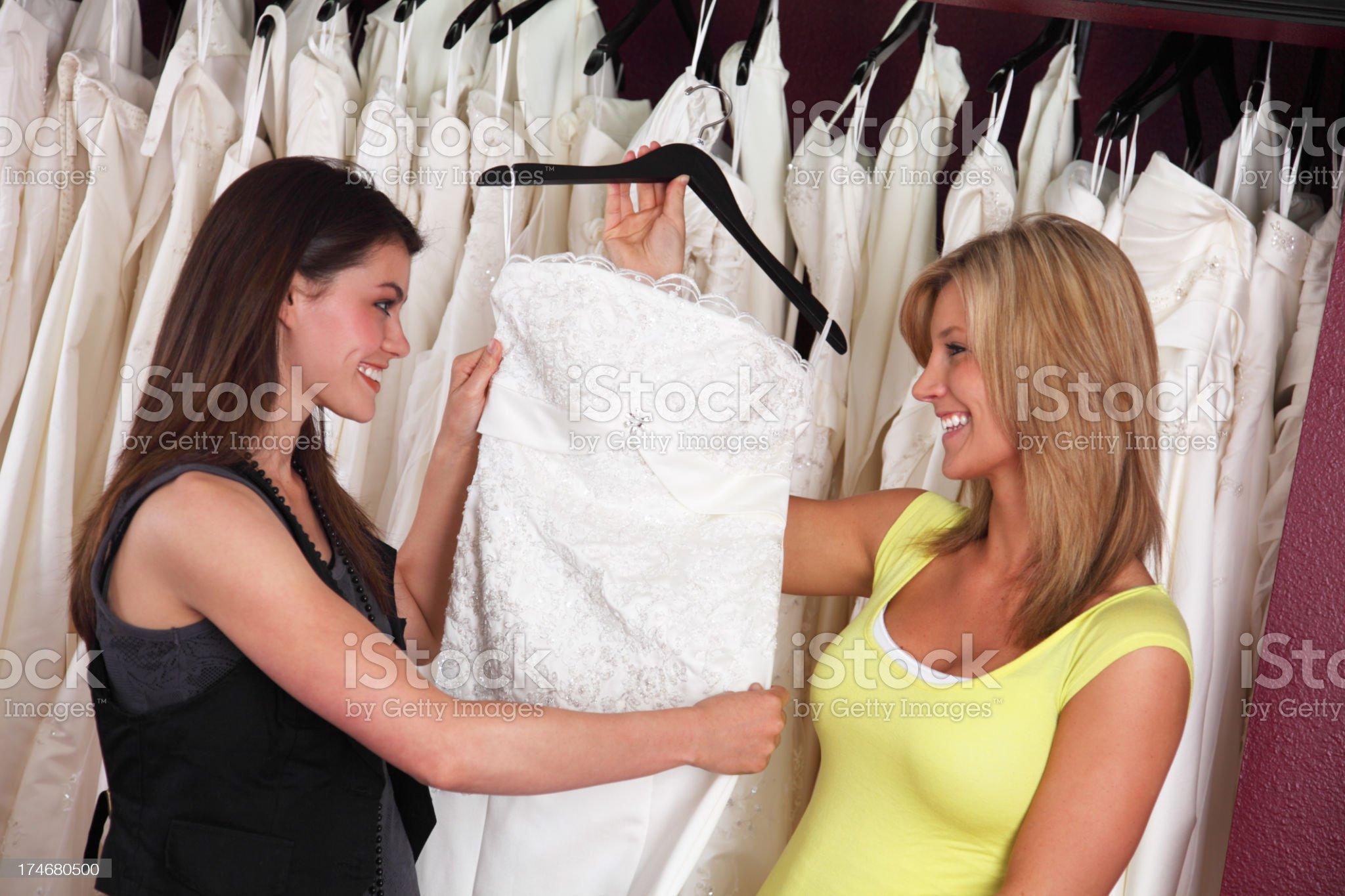 Women Shopping For Wedding Dress royalty-free stock photo