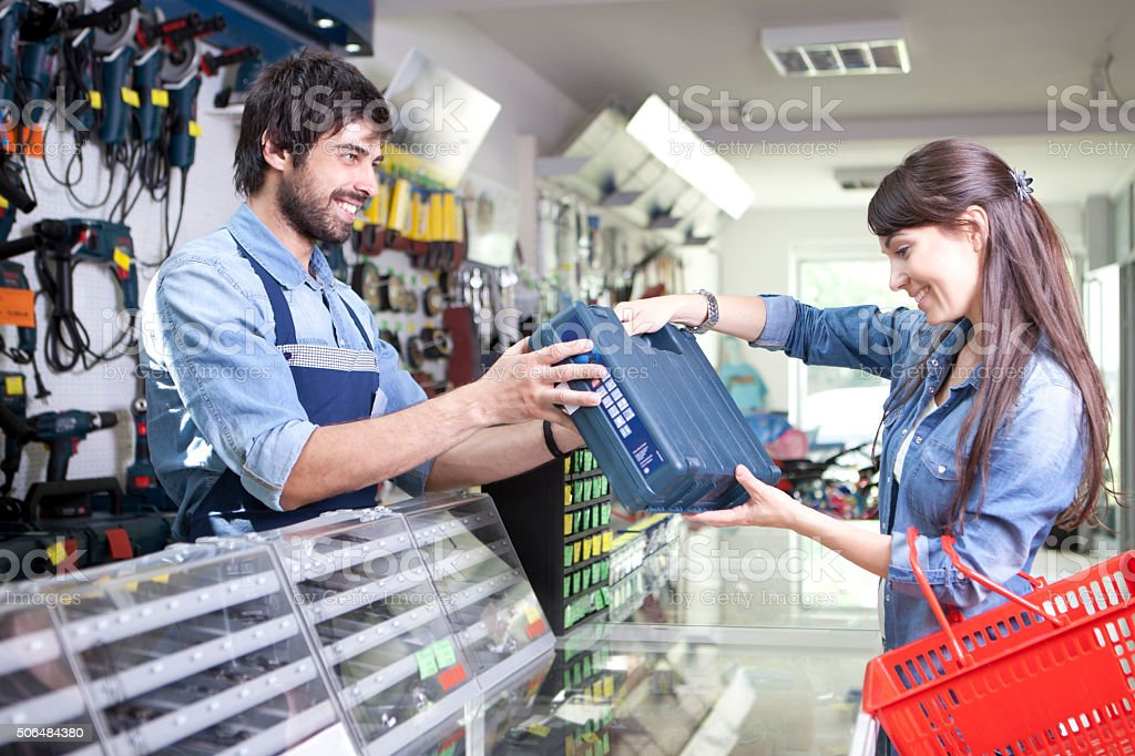Women shopping hardware store stock photo