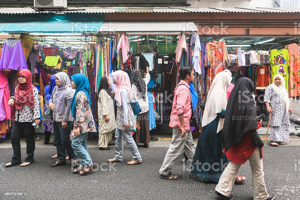 Women shopping in Kuala Lumpur Little India district stock photo
