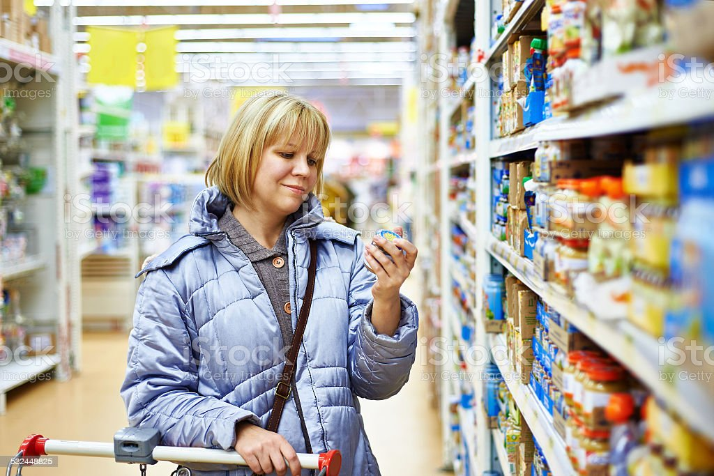 Women shopping in supermarket stock photo