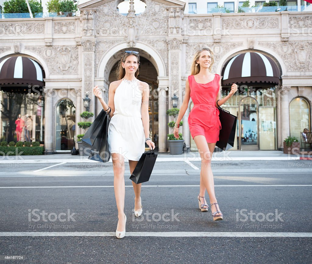 Women Shopping, Rodeo Drive, Los Angeles stock photo