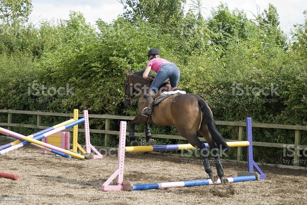 Women Show jumping horse in a menage stock photo