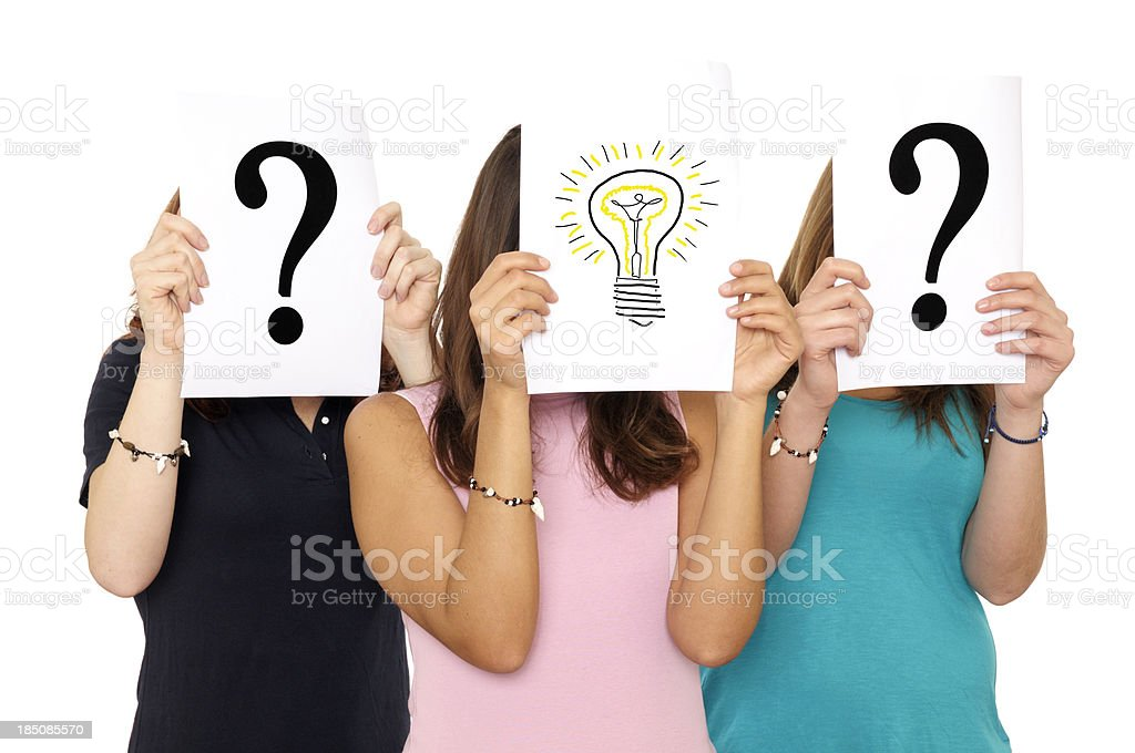 Women showing Asking and Solution Signs royalty-free stock photo