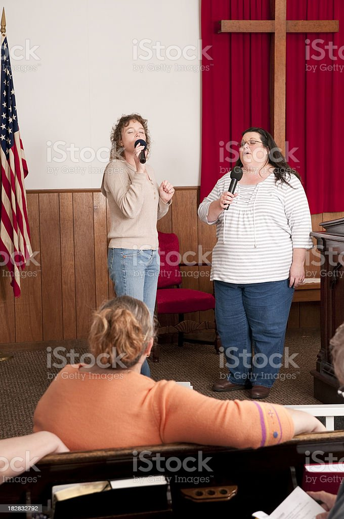 Women Singing a duet to the Lord royalty-free stock photo