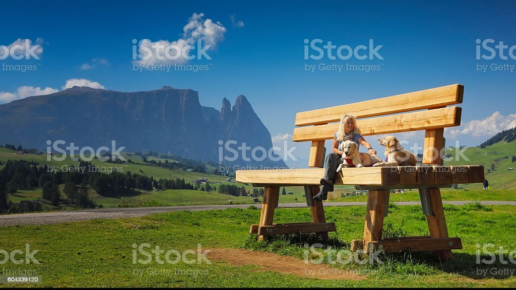 Women sitting on giant bank with her dogs, Seiser Alm stock photo