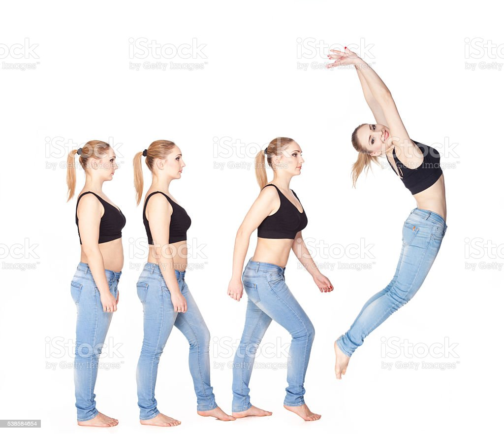 Women slimming Stages. stock photo