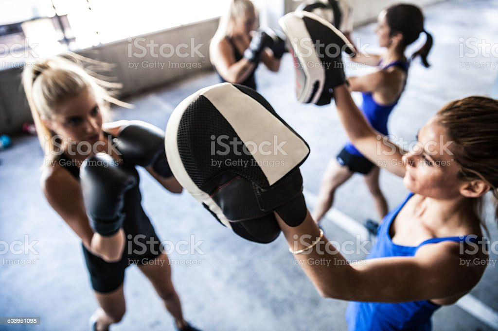 Women sport team boxing outdoor stock photo
