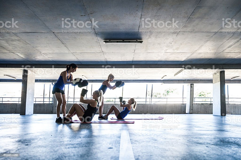 Women sport team boxing outdoor stock photo