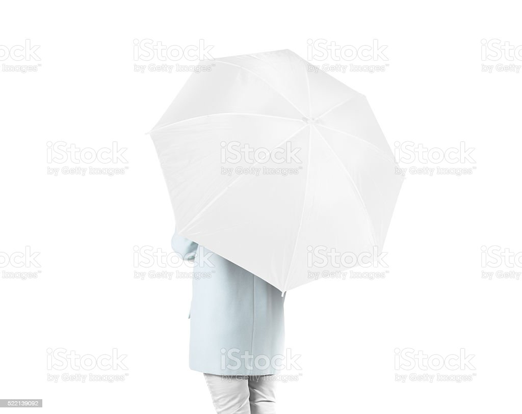 Women stand backwards with white blank umbrella mock up isolated stock photo