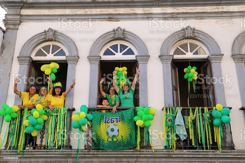 Women support Brazil's team royalty-free stock photo