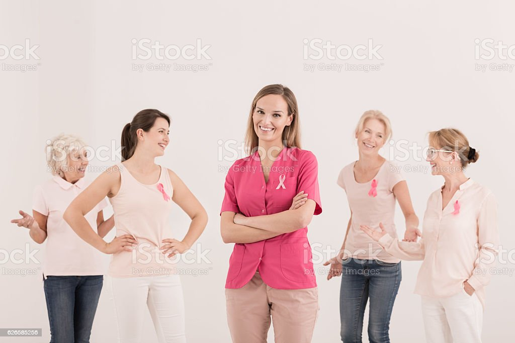 Women supporting fight with cancer stock photo