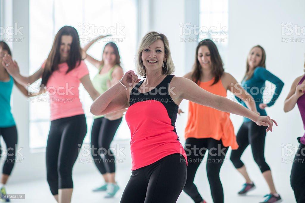 Women Taking a Dance Fitness Class stock photo