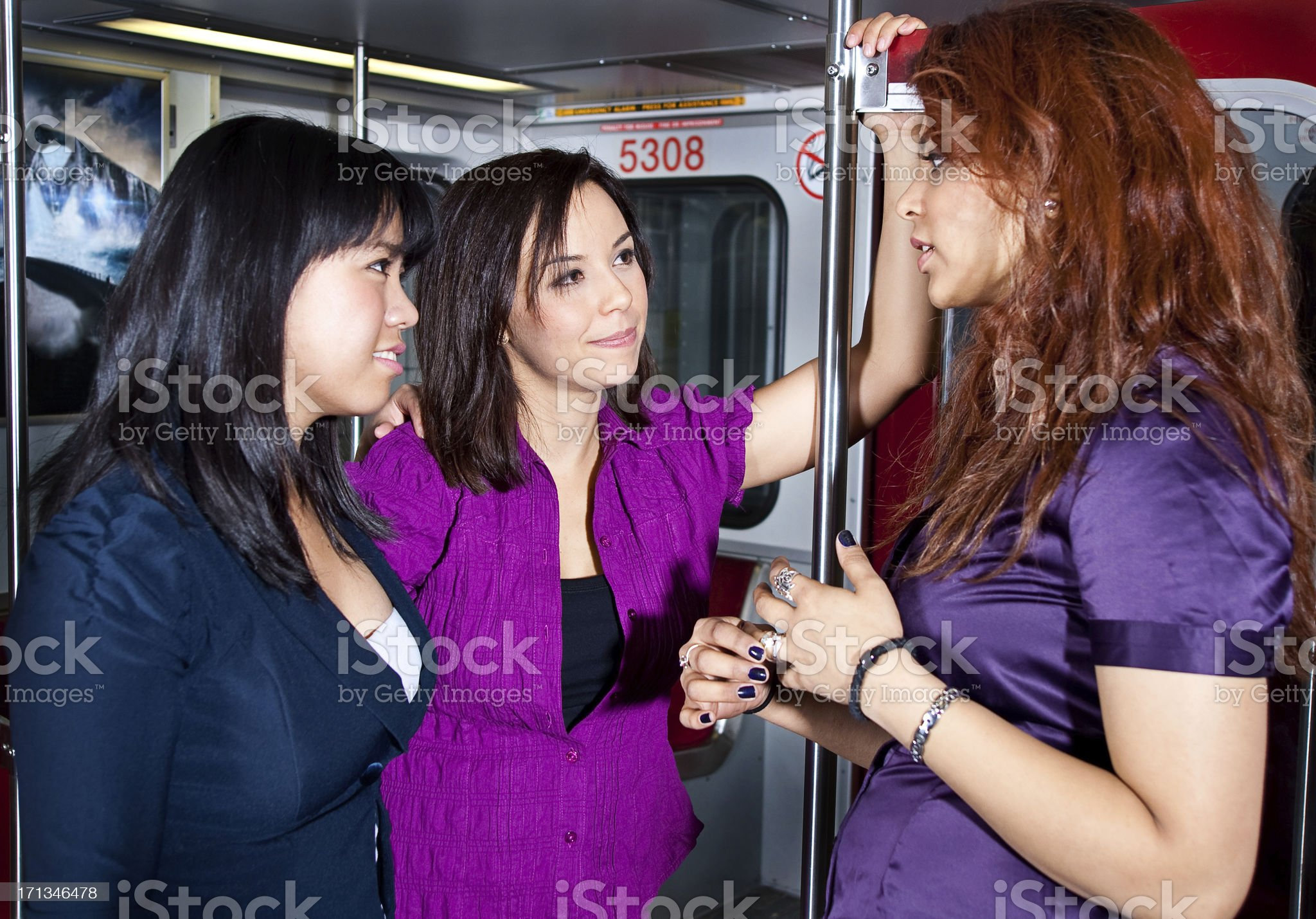 Women Talking on the Sub Way royalty-free stock photo